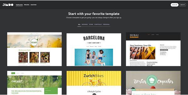 Jimdo là website giúp bạn xây dựng web thương mại điện từ miễn phí.