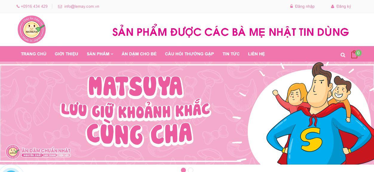 Website màu sắc phù hợp của công ty cháo ăn dặm Matsuya