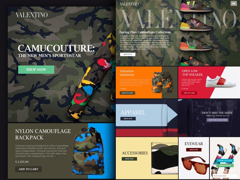 mẫu website bán hàng thời trang Valentino